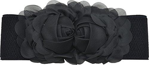 Meta-U - Cinturón ancho elástico con flores para mujer negro negro Talla  única 68067f9cdf