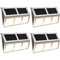 vidaXL 4x Solarlampe LED Edelstahl Wandleuchte Solarleuchte Gartenlampe Lampe#