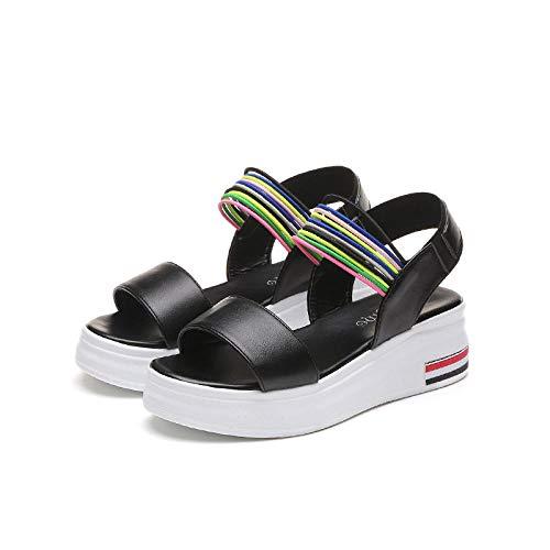 Patent Chunky Heel Sandal (Damen-Sandalen Damen-Zehentrenner Sandalen Damen mit Absat Sandalen Sandalen mit hohem Keilabsatz, dickbesohlte Sandalen mit Keilabsatz, Damen Sommer @ 35)