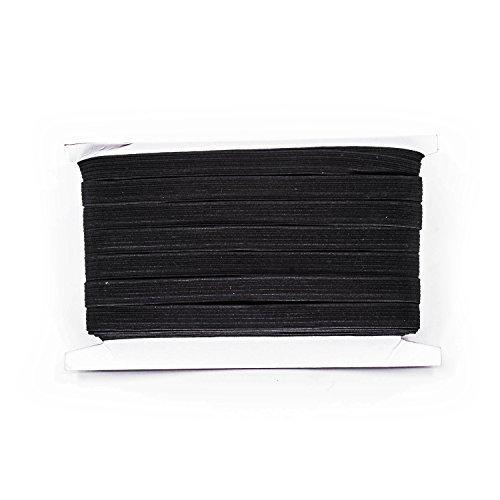 M Schwarz & weiß - 7 mm breit flach gewebt Gummiband zum Nähen, Stricken, Hosenbund und Arts & Handarbeiten von Trimming Shop - Schwarz, 5m (Breiter Jumper Bund)