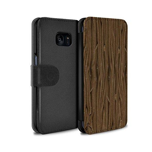 Mobile-edge-schokolade (Stuff4® PU-Leder Hülle/Case/Tasche/Cover für Samsung Galaxy S7 Edge/G935 / Flocke Muster/Schokolade Kollektion)