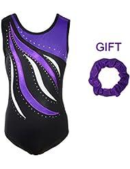 Hougood Girls Gymnastics Leotards Stripes Diamond Ballet Leotard Sparkle Ballet Dress 3-14 Years Purple Color