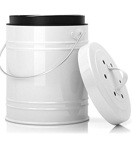 Übergroßer 5 Liter Küchen-Kompostbehälter mit Kunststoffeinsatz und Aktivkohlefilter in Schwarz/Weiß - Stabil konstruiert und abgedichtet um Gerüche und Ungeziefer zu verhindern. Spülmaschinenfest und montagefrei