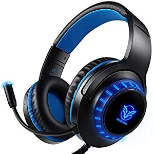 Aibesser Gaming Headset für Xbox One PS4 PC, LED Licht Crystal Clarity Sound Professional Kopfhörer mit Mikrofon für Laptop Mac Handy Tablet (01)