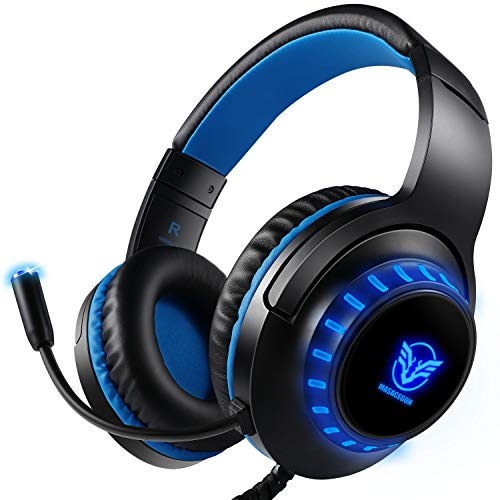 Pro Gaming Headset für PS4 Xbox One PC Rauschunterdrückung Over-Ear LED Gamer Kopfhörer Kristall Stereo-Klang mit Sensiblen Mikrofon & Intensiven Bässen für Computer Laptop Mac