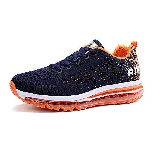 Monrinda Herren Damen Sportschuhe Laufschuhe mit Luftpolster Turnschuhe Sneakers Leichte Schuhe Outdoor Running Trainers 35-46 EU (Basketball-schuhe Orange Und Blau)