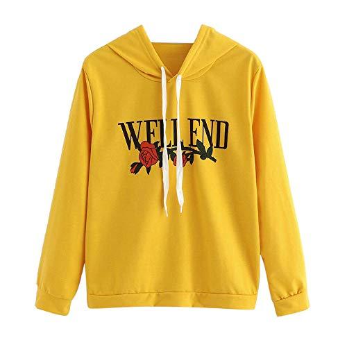 VEMOW Damen Hoodie, Frauen Rose Nothing Brief gedruckt Langarm Sweatshirt Bluse(X1-a-Gelb, 40/XL)