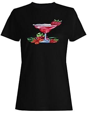 Nuevo Coctel De Verano De Acuarela camiseta de las mujeres i141f