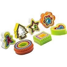 Colorido juego de cortador de galletas, cortador de galletas, cortador de frutas verduras,