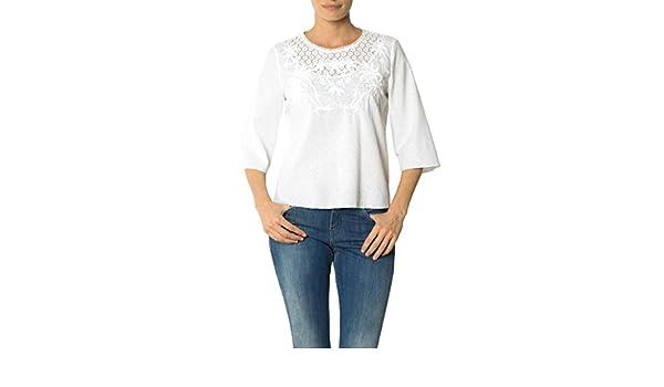 a61d973e1218 Joop! Damen Bluse Baum Wolle Blusenshirt Unifarben, Größe  42, Farbe  Weiß   Amazon.de  Bekleidung