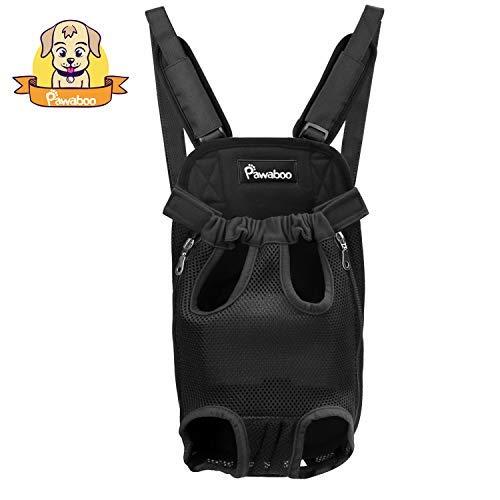 Pawaboo Mochila del Perro - Adjustable Bolsa Delantera Pet Front Cat Dog Carrier Backpack/Piernas Afuera & Fácil de Ajustar para Viajar/Senderismo / Camping, Talla Grande, Negro