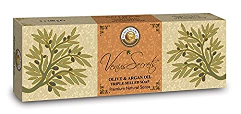 Olive Oil Soap Bar - Greek Natural Product - By Venus Secrets Natural Cosmetics - Luxury Bath Gift Set - Pack of 3 Bars - 300gr - Different Scents to Choose - Buy 2 & Get Free Delivery (Olive & Argan