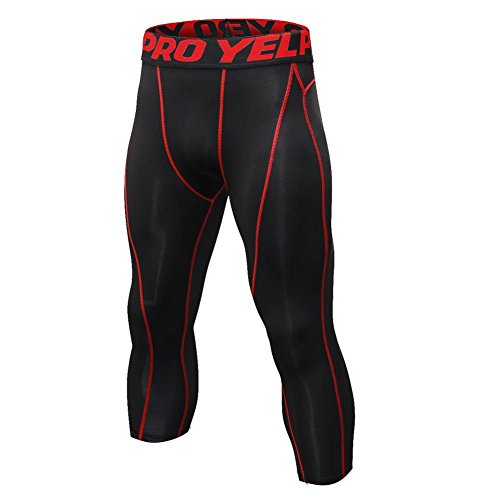 Hankyky Herren 3/4 Sport Tights Leggings Schnell Trocken Yoga Workout Laufen Fitness Strumpfhose