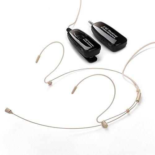 Wireless Mikrofon, Jelly Comb Wiederaufladbar Headset Mikrofon mit Zwei-Ohrhaken, verstellbares Nackenbügel Headset Mikrofon für Sprachverstärker, Lautsprecher(Beige)