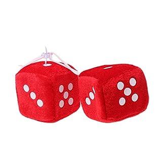 Lergo 1 Paar Fuzzy Dice Dots Rückspiegel Aufhänger Dekoration Auto Styling Zubehör, rot