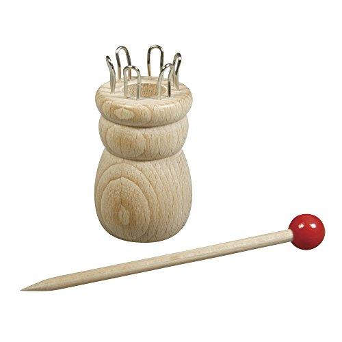 Rayher 62475000 Holz Strickliesel m.Nadel,3,4cmø FSC100%, 6,2cm, 6 Ösen, ø-Loch:1,5cm, SB-Btl 1Set
