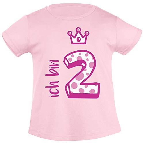 Shirtgeil Ich bin Zwei Krone 2 Geburtstag Mädchen T-Shirt 96/104 (3-4J) Rosa