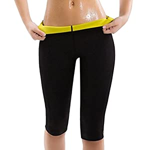 Damen Gewichtsverlust Leggings Passt zum Schwimmen Sauna Yoga Fitness-Studio für Abnehmen Fördern Sie Schweiß Trainingshosen Schwarz Größe M bis XXL