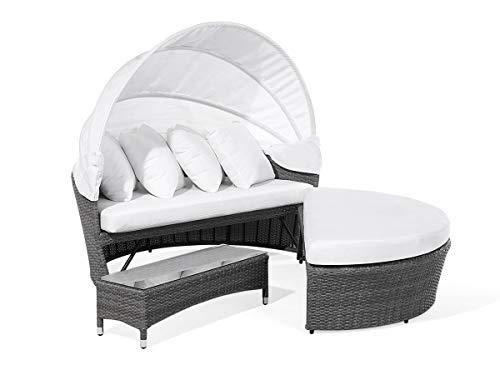 Supply24 387.8 Exklusive Designer-Sonneninsel, grau-meliert,weiße Polster und Haube, Beistelltisch und Bank, Schutzhülle, 138 x 158 x 74 + 74 cm - Aluminium Loveseat Bank