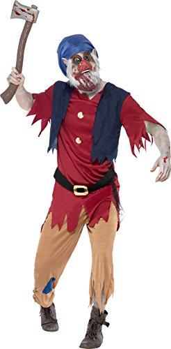 Smiffys, Herren Zombie-Zwerg Kostüm, Oberteil mit angesetzter Weste, Hose und Maske, Größe: M, ()