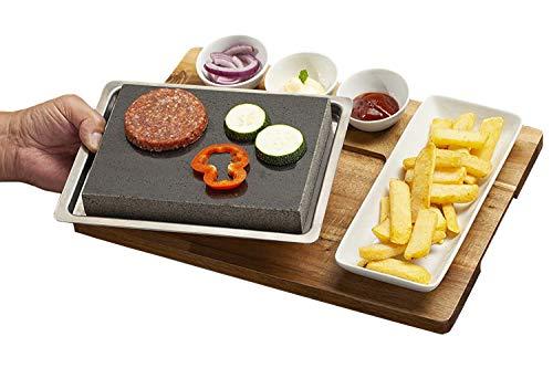 Tivoli Lava Stein - Raclette mit 3 Soßen Schüsseln und Teller auf Bambusplatte - Für Fleisch, Gemüse und Fisch - 38 x 37 cm