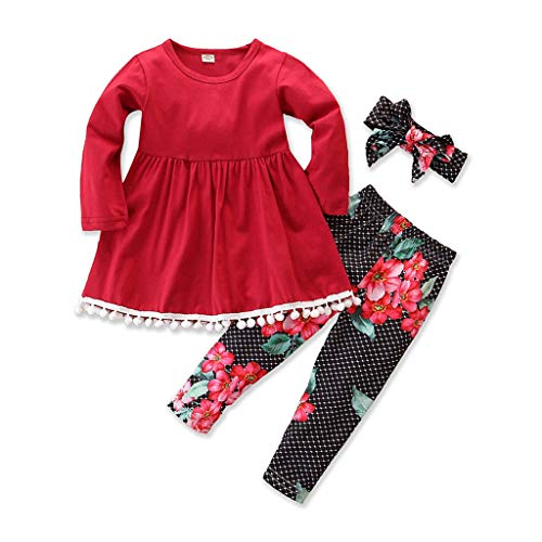 Kleinkind Baby Kinder Mädchen Solid T Shirt Tops + Floral Pants + Stirnband Outfits Sets