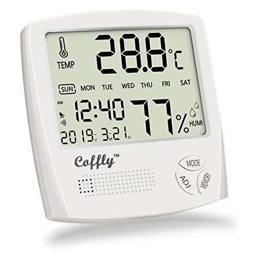 CofflyTM Termometro Igrometro Digitale Termoigrometro Interno con Funzione Sveglia, Orologio e Calendario, Misuratore di umidità e Temperatura Ambiente