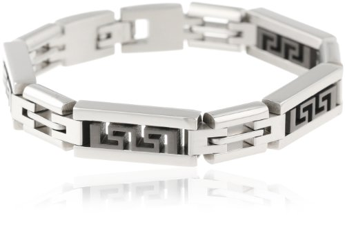 Stacy Adams Men's Stainless Steel Bracelet With Black Bars, Silver/Black, One Size