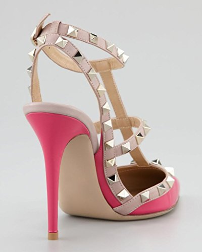 Onlymaker Damen Pumps Sandalen Stiletto High Heels Spitze Toe Slingback Sexy Schuhe mit Nieten Party Pink