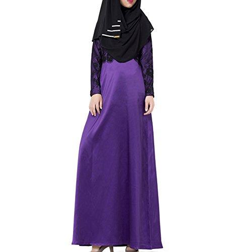 Highdas longue robe islamique musulman abayas femme à Dubaï dames turques vêtements Violet
