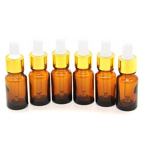 One Trillion, 10ml Amber Boston Glasflaschen/Ampullen mit klarem Glas Pipetten Pipette für ätherische Öle, Duftöl Probe, chemische Flüssigkeit-12 Pack