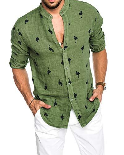Pxmoda Herren Langarm Hawaiihemd mit Flamingo Stoffdruck Roll up Leinenhemd, Grün, L (Herstellergrösse: 0L)
