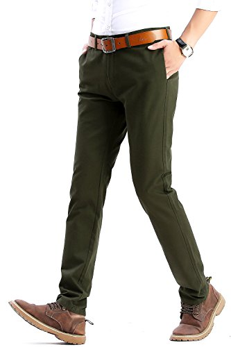 INFLATION Men's Casual Hose Chino Stretch Stoffhose Chinohose Regular Fit MH102 Dunkel Army Grün 35 (Grün Dunkel Vorne)