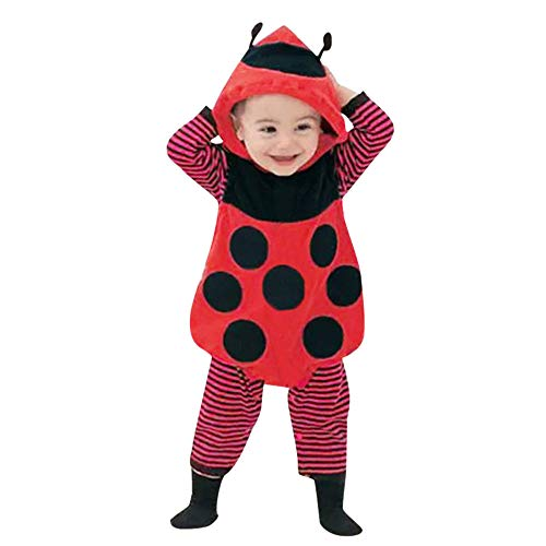 BaZhaHei Mode Infant Baby Kinder Mädchen Jungen Cartoon Marienkäfer Streifen Jumpsut Cap Weste Sets Kleidung Karikatur Marienkäfer Modellieren Dreiteiliger Anzug (Weihnachtsmann Anzug Baby)