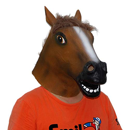 LXIANGP Latex Haube Cosplay Pferd Kopf Maske Halloween Party Maskerade Parodie Tier Maske