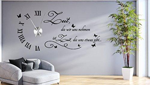 tjapalo s-tku1 Wanduhr Wandtattoo Uhr Wohnzimmer Wandsticker Wandaufkleber Spruch - Zeit die wir uns nehmen - mit und ohne Uhrwerk (mit großem edelstahl Uhrwerk)