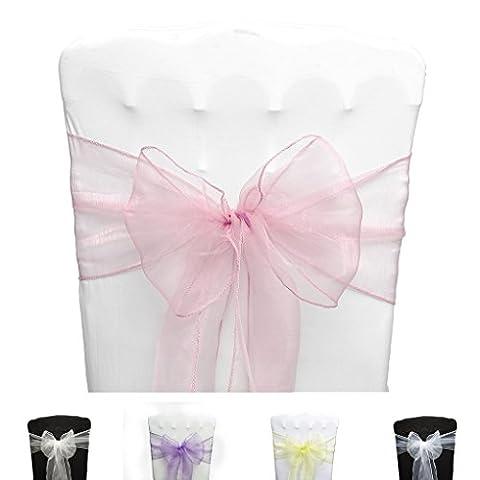 PONA ® Lot de 10 Nœuds de chaise en Organza avec bords ourlés - Rose clair - noeud mariage cérémonie réception anniversaire fête décoration ruban
