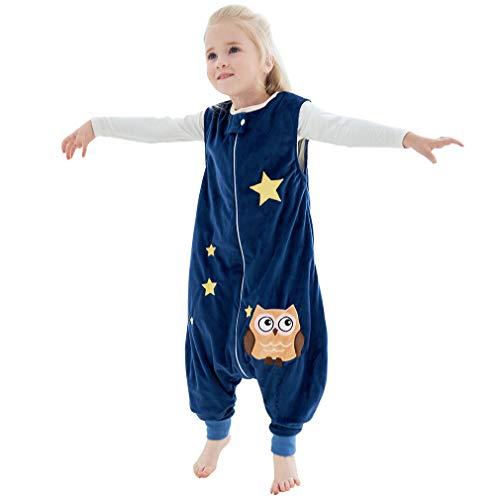 MICHLEY baby schlafsack mit Füßen, mädchen und Junge Schlummersack mit Beinen Vierjahreszeiten,Blau 1-3 Jahre