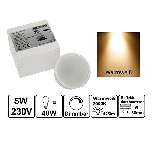 Ultra flaches LED Modul für Einbaustrahler Deckenspot Einbauleuchte 230Volt Leuchtmittel 425Lumen DIMMBAR warmweiß 50mm Außendurchmesser 25mm Länge 50 Mm-modul
