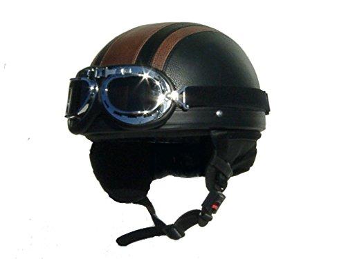 Sting Halbschale Cruiser schwarz braun Classic Vintage Helm inklusive Retro-Brille, L