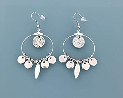 Boucles d'oreilles créoles argentées en acier inoxydable avec pampilles en argent, bijou femme en argent, créoles en argent, bijoux cadeaux