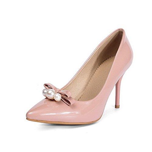 AgooLar Femme Couleur Unie Pu Cuir à Talon Haut Pointu Tire Chaussures Légeres Rose