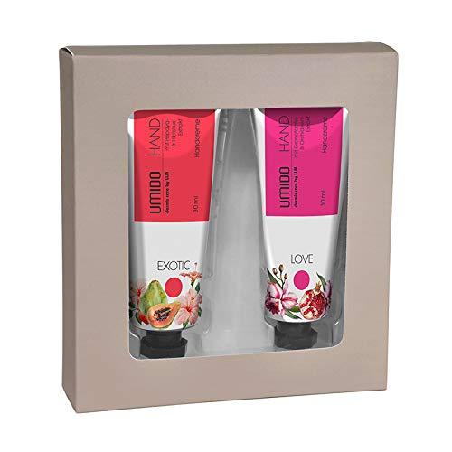 UMIDO Beautyset Hand-Creme 30 ml Papaya- und Hibiskus-Extrakt & Hand-Creme 30 ml Granatapfel- und Orchideen-Extrakt - 2 x 30 ml + Geschenk-Box (6.) -