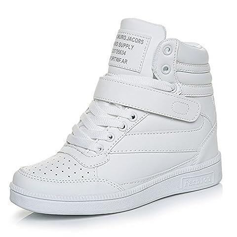 Damen Sneakers mit Keilabsatz Sneakers-Wedges Schnürschuhe Stiefeletten Schuhe Weiß