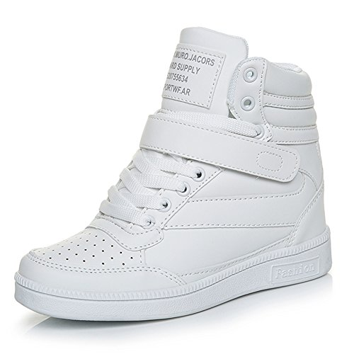 Scarpe Zeppa Sneakers interna Donna lacci alta zeppa Tacco Sportive Scarpe da Ginnastica 7 CM Bianco 36