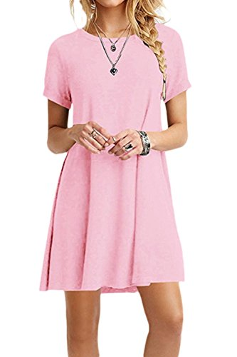 Le Donne In Solido Elastico Camicia A Maniche Corte Informale Vestito Pink