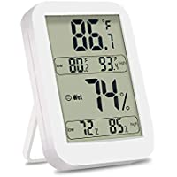 Backture Termómetro Higrometro LCD Digital, Termómetro Higrómetro Interior Eexterior Digital Memoria de MAX/Mini, Blanco……