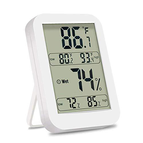 Termometro Igrometro Backture Termometro Digitale LCD per Interno/Esterno Igrometro Digitale, Misura Umidità e Temperatura, Memoria di Max/Mini, Bianco ...