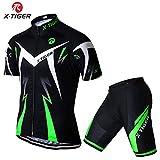 X-TIGER Cyclisme Maillot Manches Courtes+Gel 5D Dous-Vêtements Rembourrés Coolmax à Bretelle VTT pour Homme(Vert,L)
