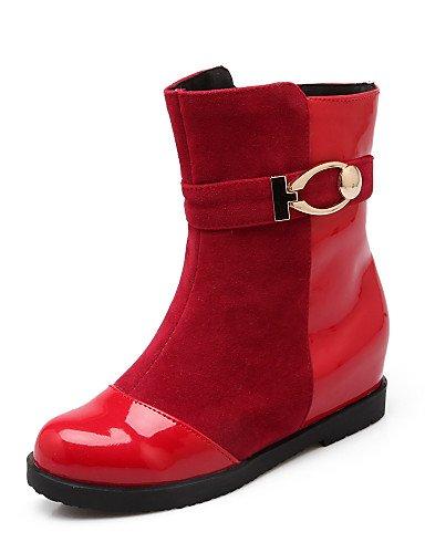xzz/Damen Schuhe Fleece/Patent Leder Keilabsatz Keile/Fashion Stiefel/Schuhe Stiefel Kleid/Casual Schwarz/Rot/Weiß, white-us10.5 / eu42 / uk8.5 / cn43